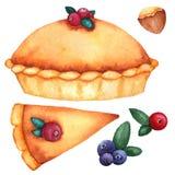 Ensemble d'aquarelle de festins traditionnels pour le thanksgiving : tarte de potiron, canneberges, écrous illustration libre de droits