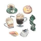 Ensemble d'aquarelle de verres viennois de café, de desserts, de sucrier et de tasse de café mignonne illustration de vecteur