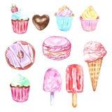 Ensemble d'aquarelle des bonbons et du dessert - crème glacée dans un cône, petits gâteaux, butées toriques, macarons dans des co illustration stock