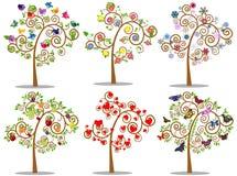 Ensemble d'arbre d'icônes avec des éléments de conception Illustration de vecteur Photo stock