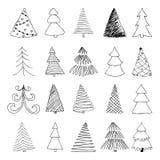 Ensemble d'arbre de Noël tiré par la main de croquis concevez pour des cartes de voeux de vacances et des invitations du Joyeux N Photographie stock