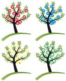 Ensemble d'arbre stylized avec des fleurs Photos libres de droits
