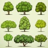 Ensemble d'arbres à feuilles caduques de bande dessinée Photo stock