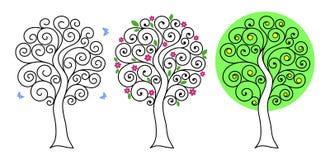 Ensemble d'arbres avec des boucles illustration stock