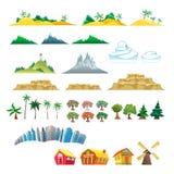 Ensemble d'arbres, de montagnes, de collines, d'îles et de buildi Photos stock