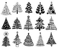 Ensemble d'arbres de Noël drôles. Images stock