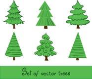 Ensemble d'arbres de vecteur. Photo stock