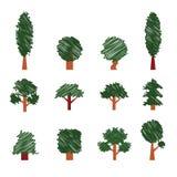 Ensemble d'arbres Style de dessin de main Ramassage d'éléments de conception Photographie stock libre de droits