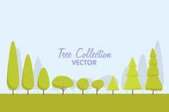 Ensemble d'arbres stylisés abstraits illustration naturelle Photos libres de droits