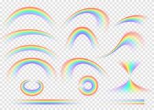 Ensemble d'arc-en-ciel d'isolement sur le fond transparent Voûte réaliste de pluie illustration de vecteur