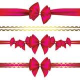 Ensemble d'arcs de cadeau avec le ruban Photo stock