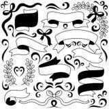 Ensemble d'arcs, de rubans et d'éléments floraux Objets pour la décoration, conception sur des livrets de la publicité, bannières illustration stock