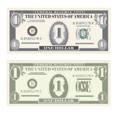 Ensemble d'argent, billets de banque de papier un dollar Photo stock