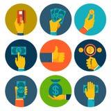 Ensemble d'argent coloré dans des icônes de mains illustration libre de droits