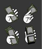 Ensemble d'argent de main Image stock