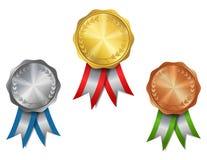 Ensemble d'or, argent, médailles en bronze de récompense Image libre de droits