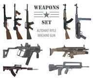 Ensemble d'arme à feu Arme automatique, mitrailleuse Conception plate Image libre de droits