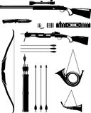 Ensemble d'armes de chasse de silhouette dans le style plat illustration stock