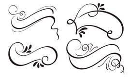 Ensemble d'art décoratif de bannière et de frontières de cadre de ruban de calligraphie Illustration EPS10 de vecteur de lettrage illustration de vecteur