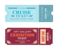Ensemble d'Art Gallery Exhibition Cruise Coupon de vecteur Photos libres de droits