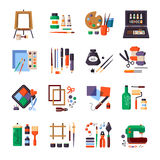Ensemble d'Art Tools And Materials Icon Photographie stock libre de droits