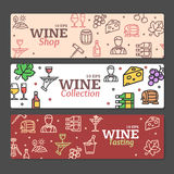 Ensemble d'Art Wine Banners et de labels Vecteur Photographie stock libre de droits