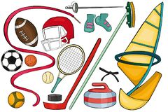 Ensemble d'article de sport Type de dessin animé Photos libres de droits