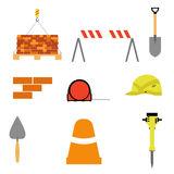 Ensemble d'articles de construction sur le fond blanc Outils de construction illustration stock