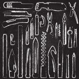 Ensemble d'aspiration de main d'éléments multifonctionnels de couteau, illustration de craie de couteau de poche, couteau suisse, Photographie stock libre de droits