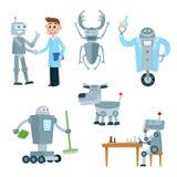 Ensemble d'assistants de robot, amis, compagnons illustration de vecteur