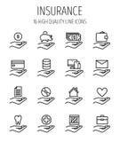 Ensemble d'assurance dans la ligne style mince moderne Image stock