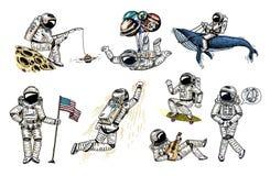 Ensemble d'astronautes dans l'espace Astronaute montant de collection avec le drapeau, la baleine et les ballons planchiste de mu illustration stock
