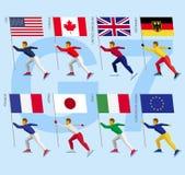 Ensemble d'athlètes plats simples patinant avec des drapeaux du groupe de sept Photo stock