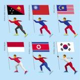 Ensemble d'athlètes plats simples patinant avec des drapeaux des pays asiatiques Photos libres de droits