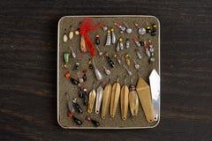 Ensemble d'attraits pour la pêche de glace Photographie stock libre de droits
