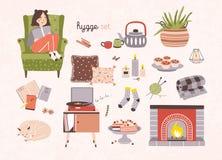 Ensemble d'attributs de hygge, de meubles et de décorations à la maison d'isolement sur le fond clair - cheminée, oreillers, plaq illustration libre de droits