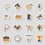 Ensemble d'autocollant d'icône de stratégie commerciale Image stock