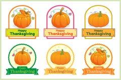 Ensemble d'autocollant heureux de label d'étiquette de potiron de thanksgiving Image libre de droits