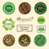 Ensemble d'autocollant organique et naturel d'emblème de label d'étiquette d'insigne Photographie stock