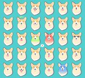 Ensemble d'autocollants avec des émotions de vecteur de chien Images stock