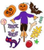 Ensemble d'autocollants avec des chiffres pour Halloween Illustration de vecteur Image stock