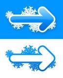 Ensemble d'autocollants bleus de flèche d'hiver Photos libres de droits