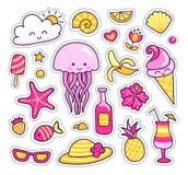 Ensemble d'autocollants colorés d'été, corrections, insignes, goupilles Méduses mignonnes, ananas, cocktail, fleurs tropicales, l illustration libre de droits