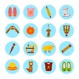 Ensemble d'autocollants colorés de fait main Image libre de droits