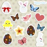 Ensemble d'autocollants colorés pour Pâques la collection du bébé marque les FO illustration de vecteur