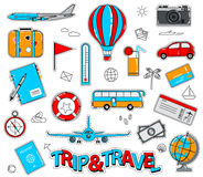 Ensemble d'autocollants de bande dessinée de voyage dans le rétro style Photographie stock
