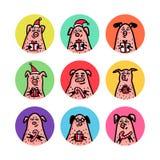 Ensemble d'autocollants de forme ronde Porcs drôles avec des cannes de sucrerie, des cadeaux et des chapeaux de Santa 2019 symbol illustration libre de droits