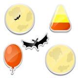 Ensemble d'autocollants de Halloween Lune, bonbons au maïs, batte, ballon illustration libre de droits