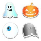 Ensemble d'autocollants de Halloween Potiron, fantôme, oeil, R I P illustration de vecteur
