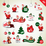 Ensemble d'autocollants de Noël et d'icônes de vente Photographie stock